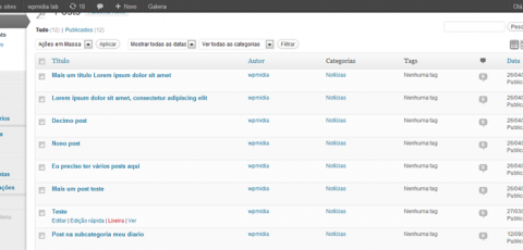 Listagem de posts no editor de posts do WordPress