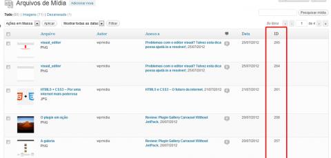 Exibindo os IDs dos anexos na listagem de anexos