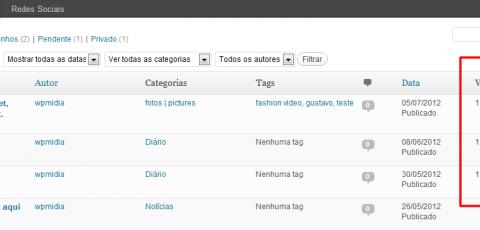 WordPress - Nova coluna