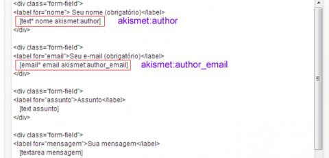 Contact Form 7 - Akismet Configurações